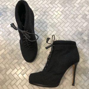 Theory Grey Wool Platform Stiletto Bootie, Size 38